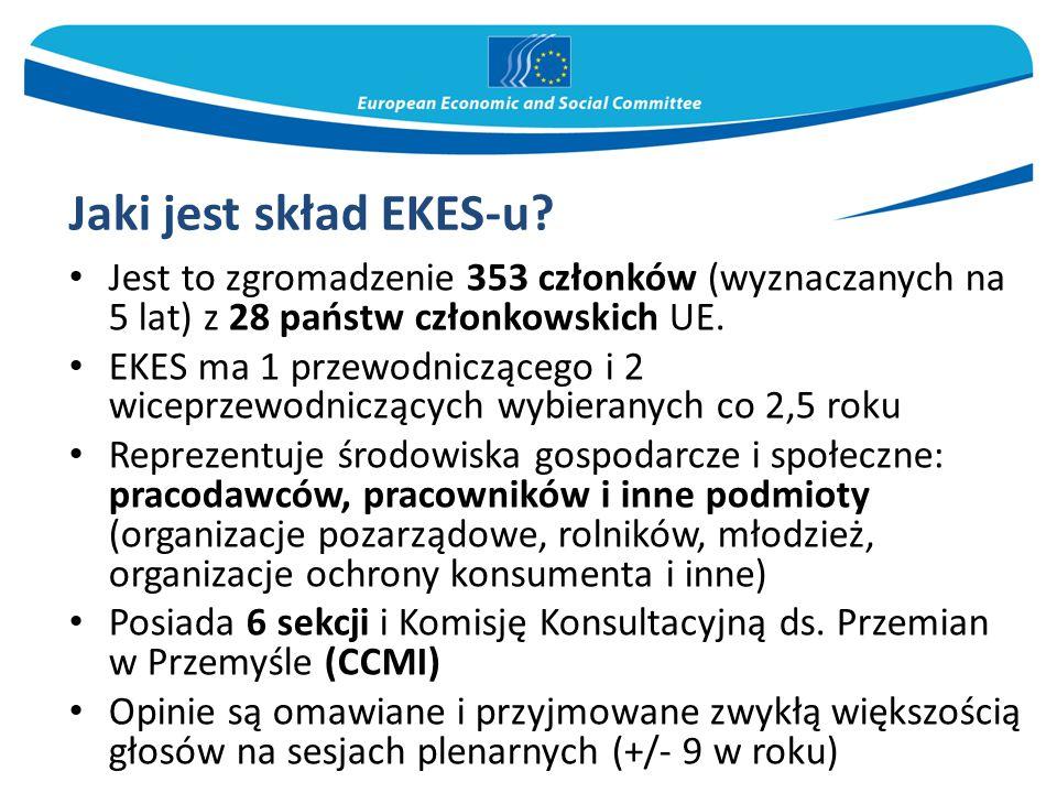 Jaki jest skład EKES-u Jest to zgromadzenie 353 członków (wyznaczanych na 5 lat) z 28 państw członkowskich UE.