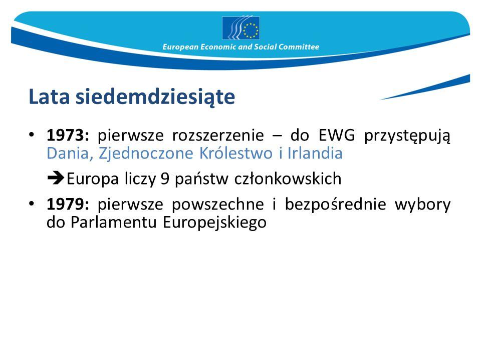 Lata siedemdziesiąte Europa liczy 9 państw członkowskich