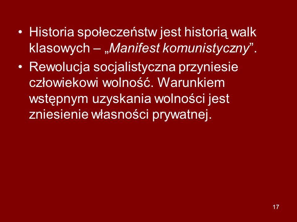"""Historia społeczeństw jest historią walk klasowych – """"Manifest komunistyczny ."""