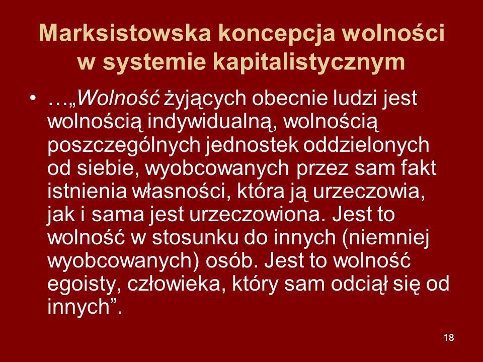 Marksistowska koncepcja wolności w systemie kapitalistycznym