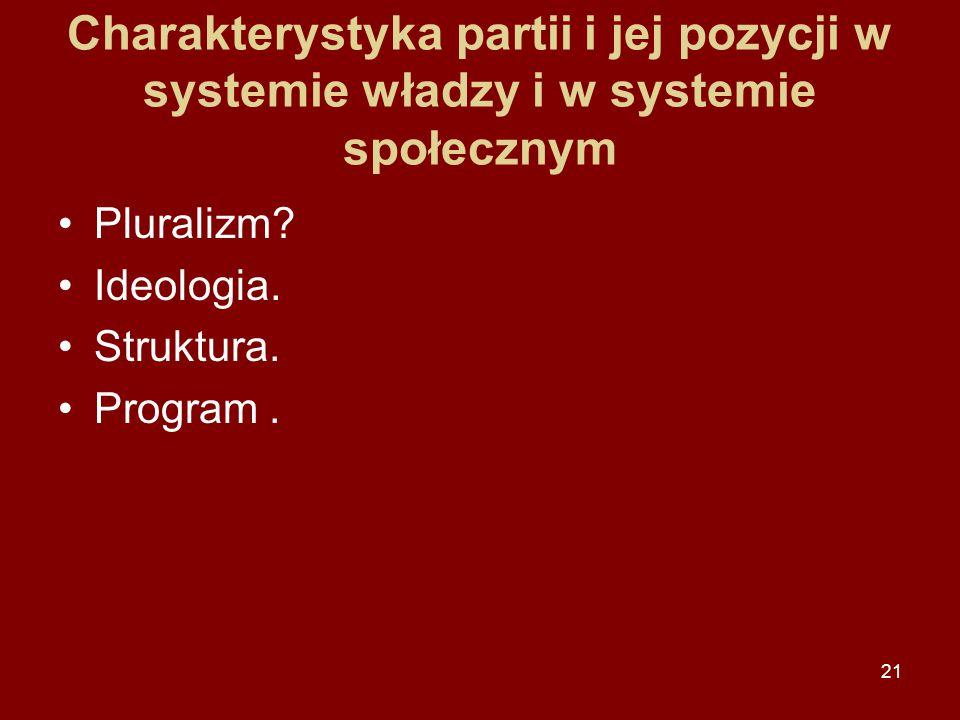 Charakterystyka partii i jej pozycji w systemie władzy i w systemie społecznym