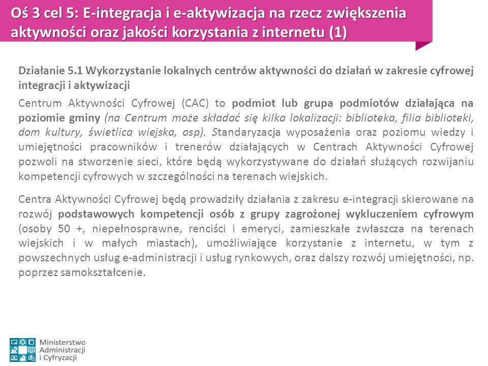 Oś 3 cel 5: E-integracja i e-aktywizacja na rzecz zwiększenia aktywności oraz jakości korzystania z internetu (1)