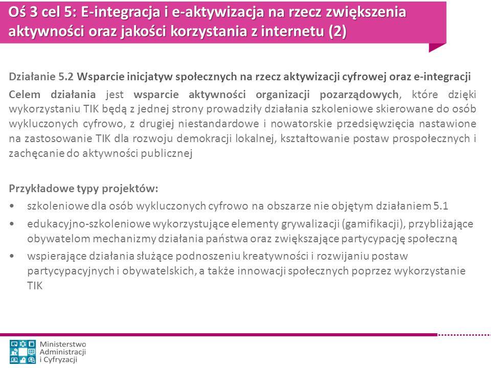 Oś 3 cel 5: E-integracja i e-aktywizacja na rzecz zwiększenia aktywności oraz jakości korzystania z internetu (2)