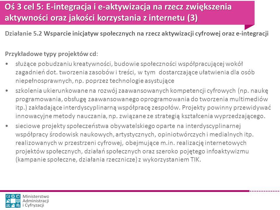 Oś 3 cel 5: E-integracja i e-aktywizacja na rzecz zwiększenia aktywności oraz jakości korzystania z internetu (3)