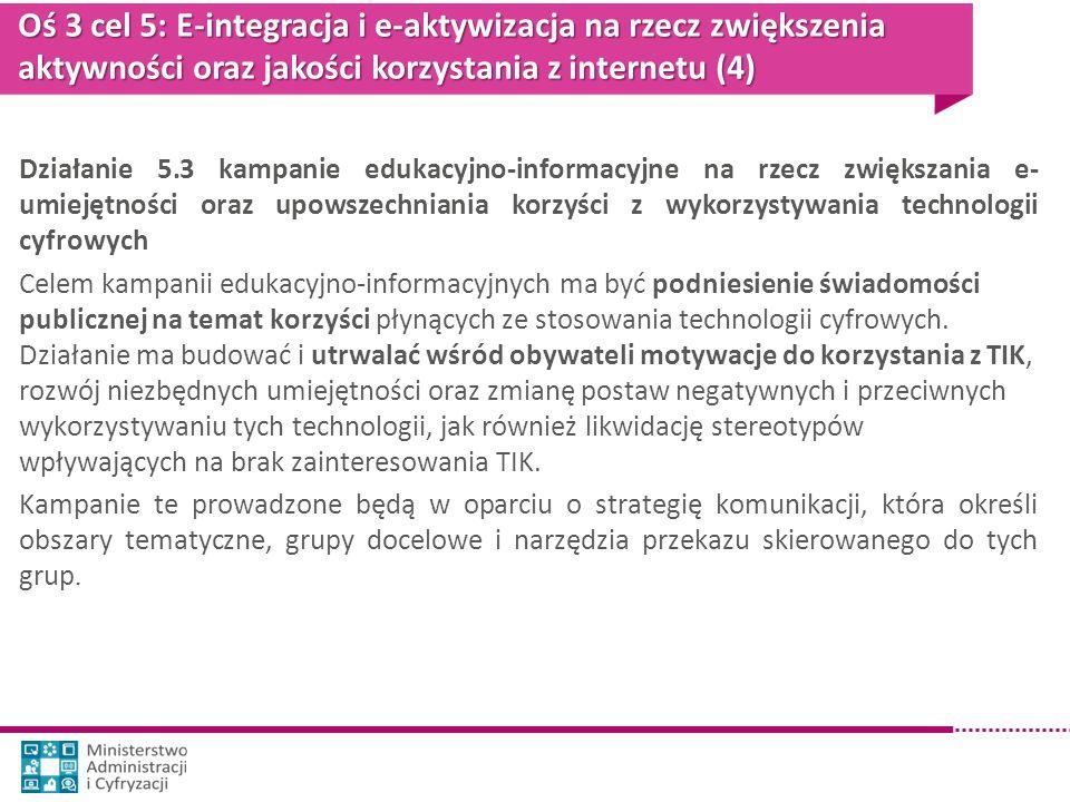 Oś 3 cel 5: E-integracja i e-aktywizacja na rzecz zwiększenia aktywności oraz jakości korzystania z internetu (4)