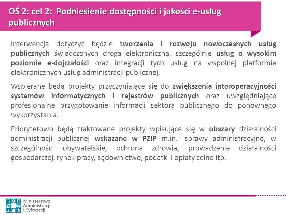 OŚ 2: cel 2: Podniesienie dostępności i jakości e-usług publicznych