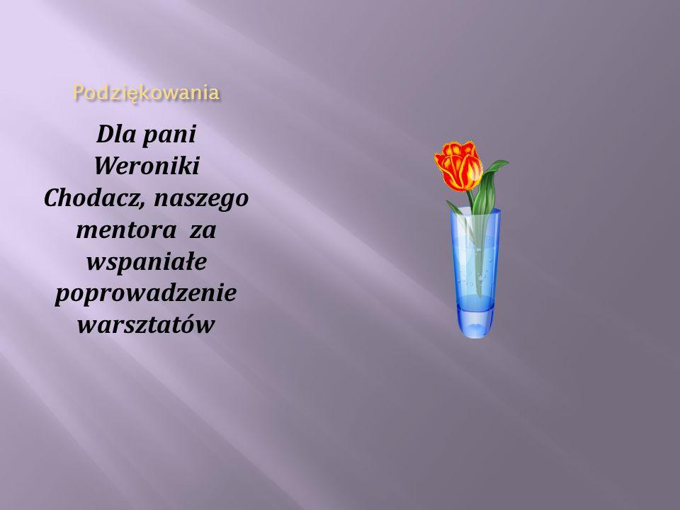 Podziękowania Dla pani Weroniki Chodacz, naszego mentora za wspaniałe poprowadzenie warsztatów