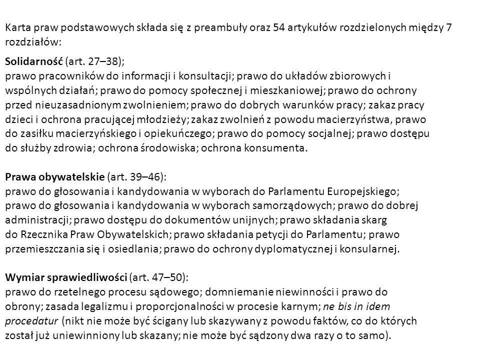 Karta praw podstawowych składa się z preambuły oraz 54 artykułów rozdzielonych między 7 rozdziałów: