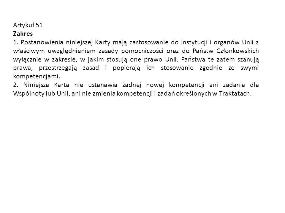 Artykuł 51 Zakres.