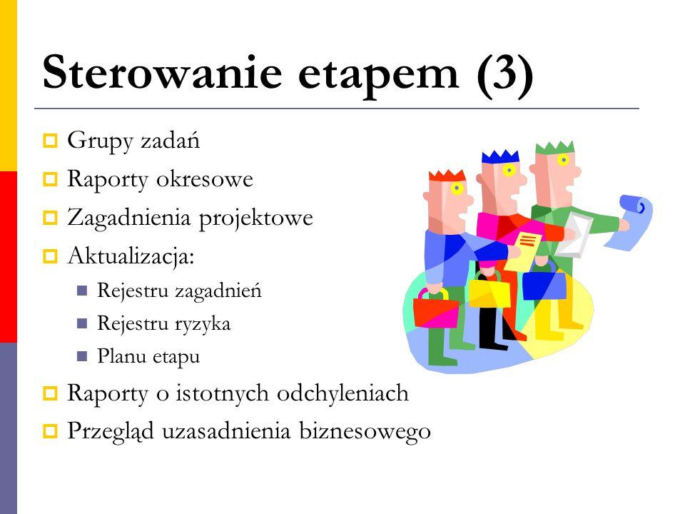 Sterowanie etapem (3) Grupy zadań Raporty okresowe