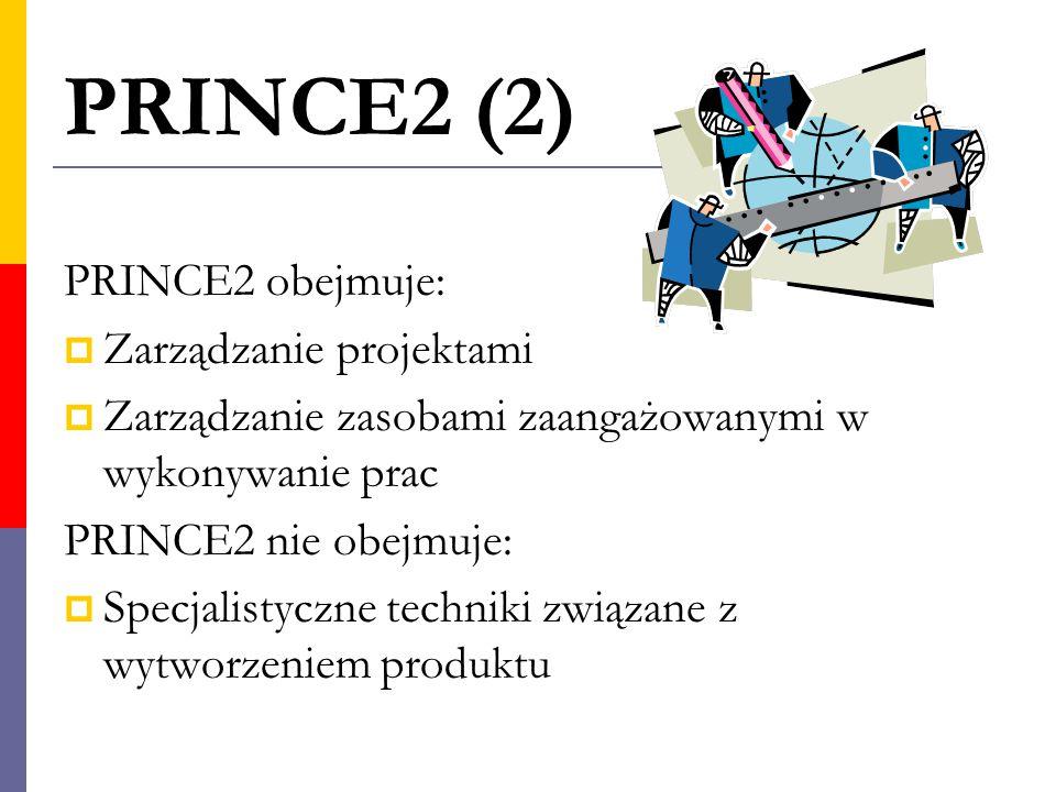 PRINCE2 (2) PRINCE2 obejmuje: Zarządzanie projektami