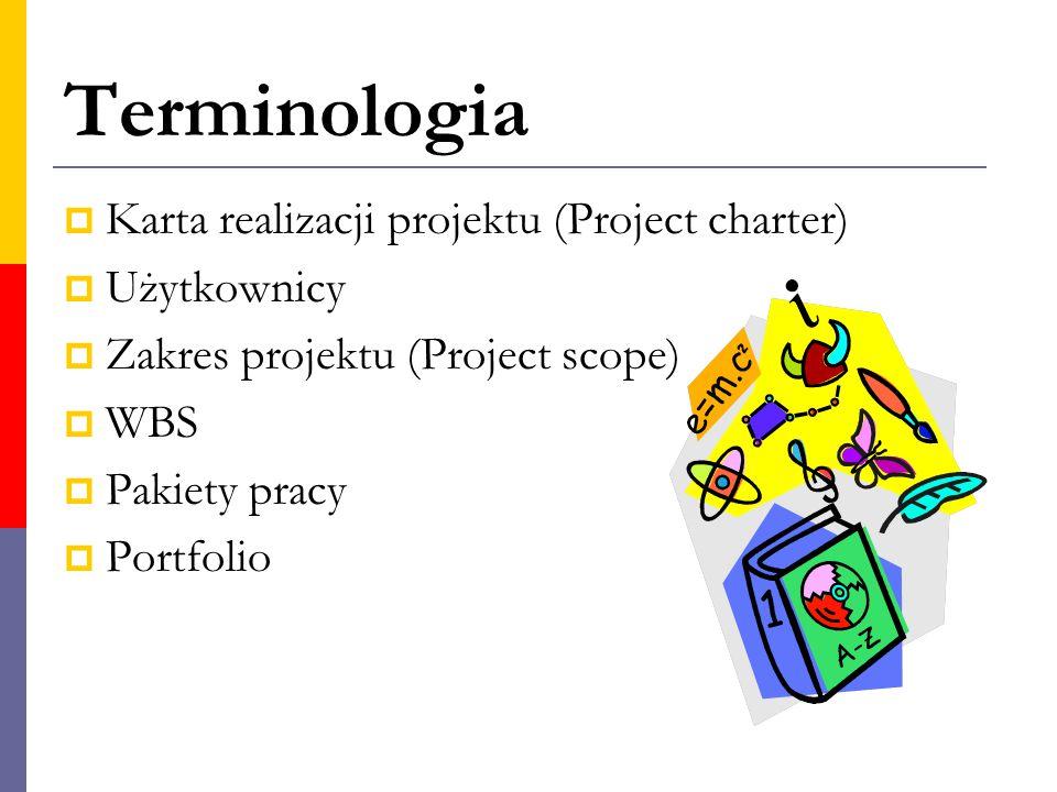 Terminologia Karta realizacji projektu (Project charter) Użytkownicy
