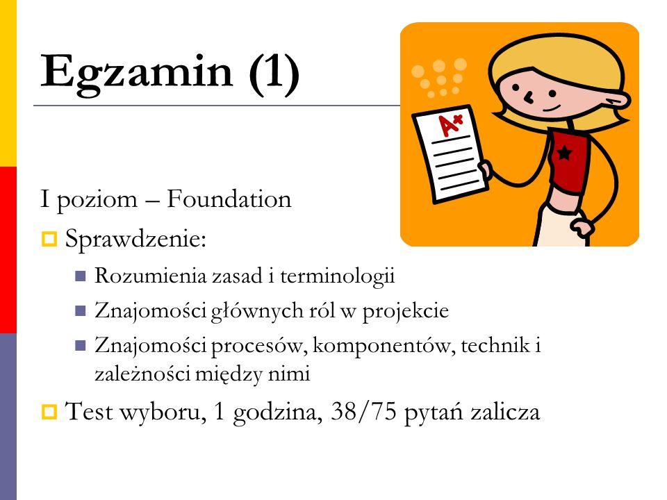 Egzamin (1) I poziom – Foundation Sprawdzenie: