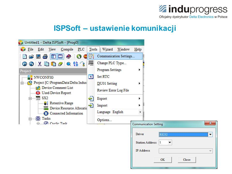 ISPSoft – ustawienie komunikacji