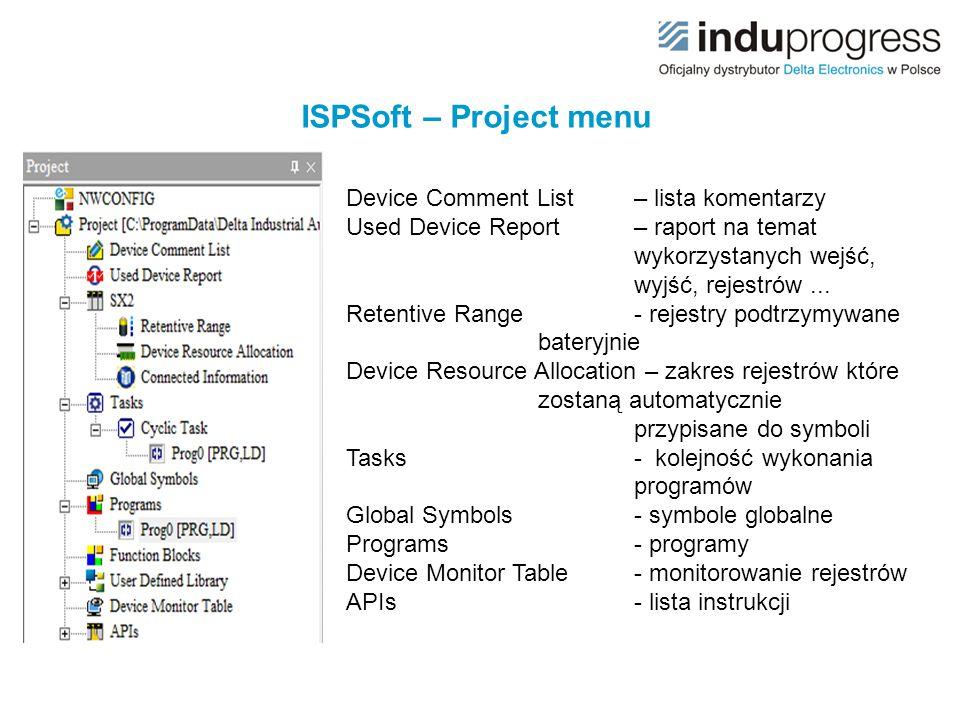 ISPSoft – Project menu