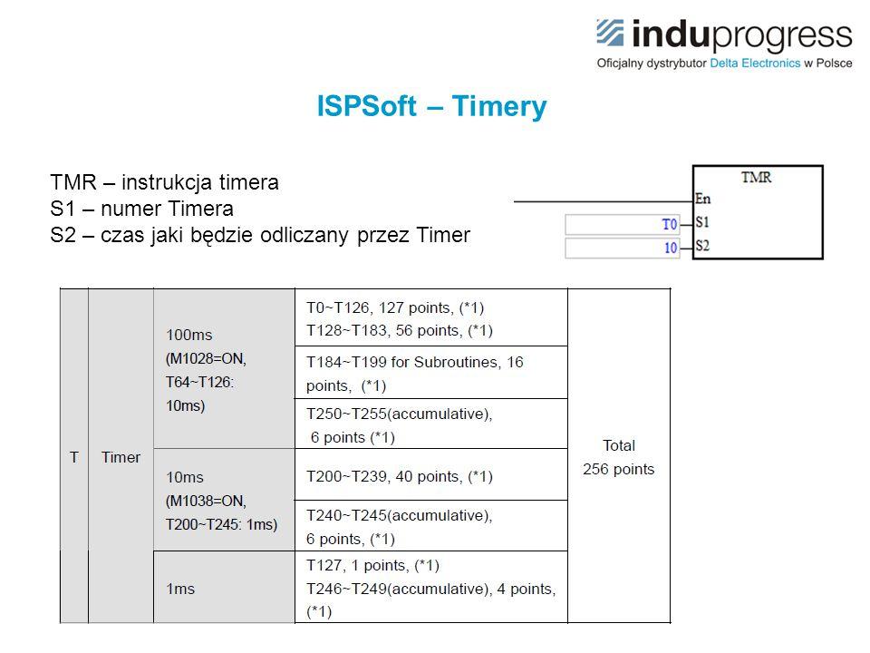 ISPSoft – Timery TMR – instrukcja timera S1 – numer Timera S2 – czas jaki będzie odliczany przez Timer.