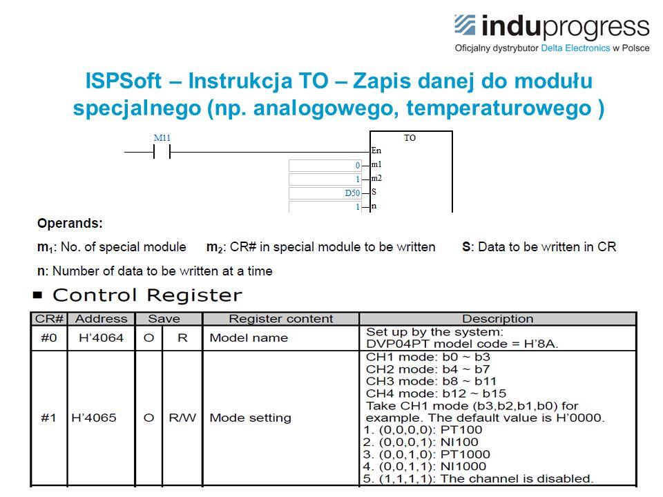 ISPSoft – Instrukcja TO – Zapis danej do modułu specjalnego (np