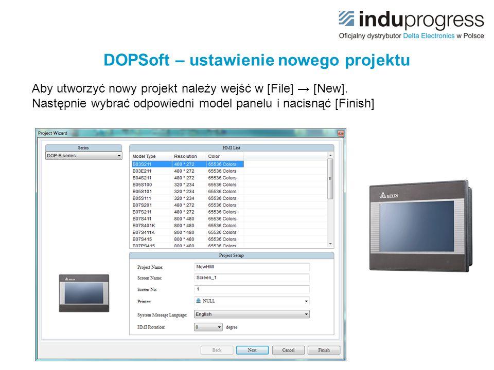 DOPSoft – ustawienie nowego projektu