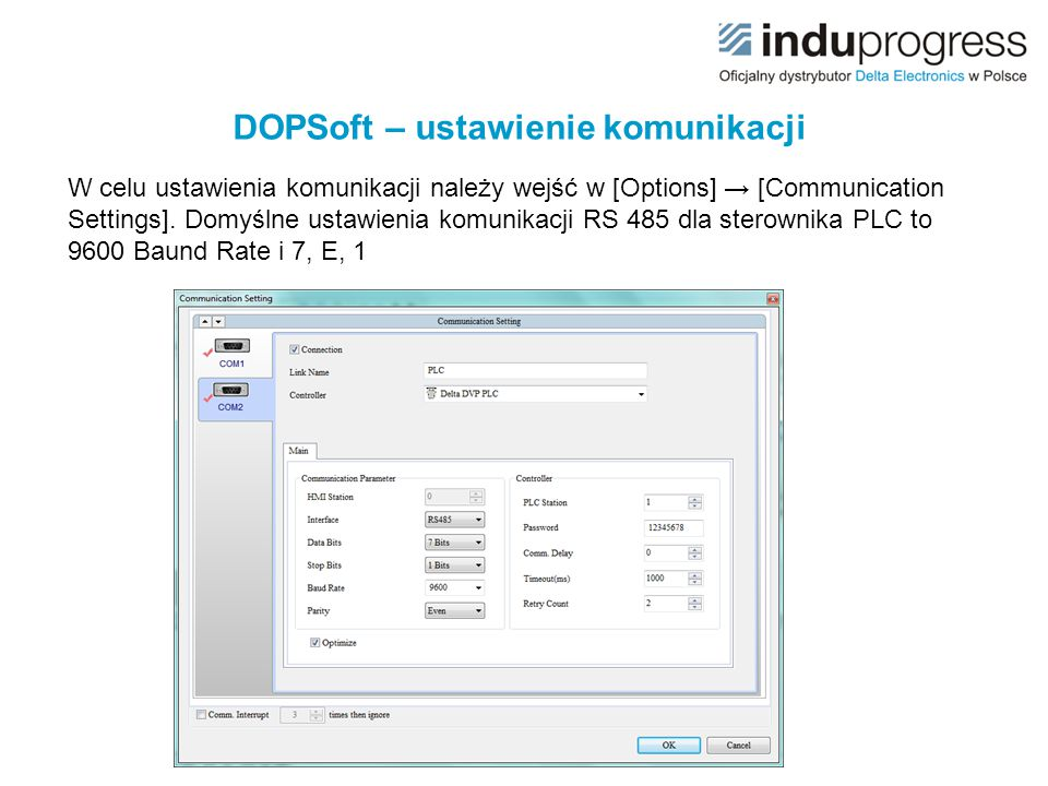 DOPSoft – ustawienie komunikacji