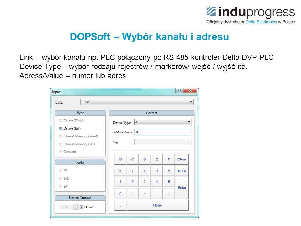 DOPSoft – Wybór kanału i adresu
