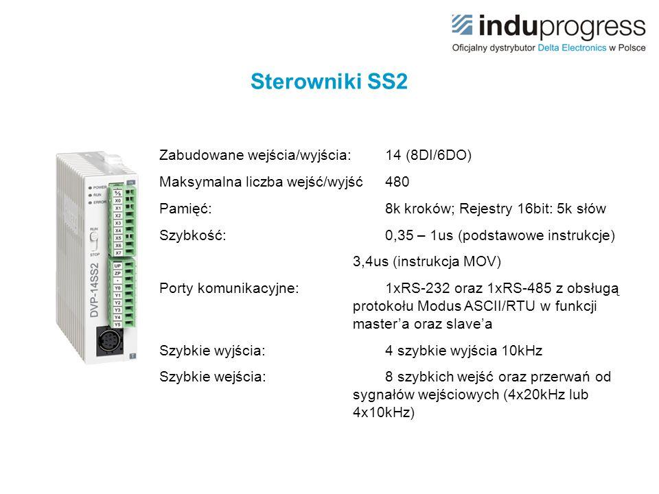 Sterowniki SS2 Zabudowane wejścia/wyjścia: 14 (8DI/6DO)