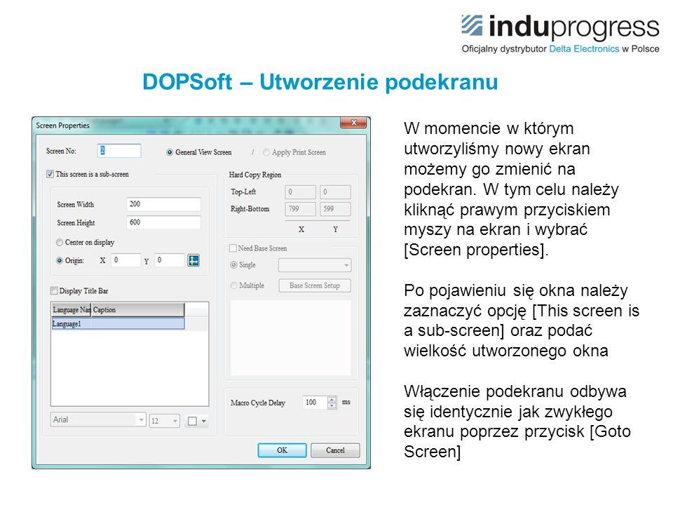 DOPSoft – Utworzenie podekranu