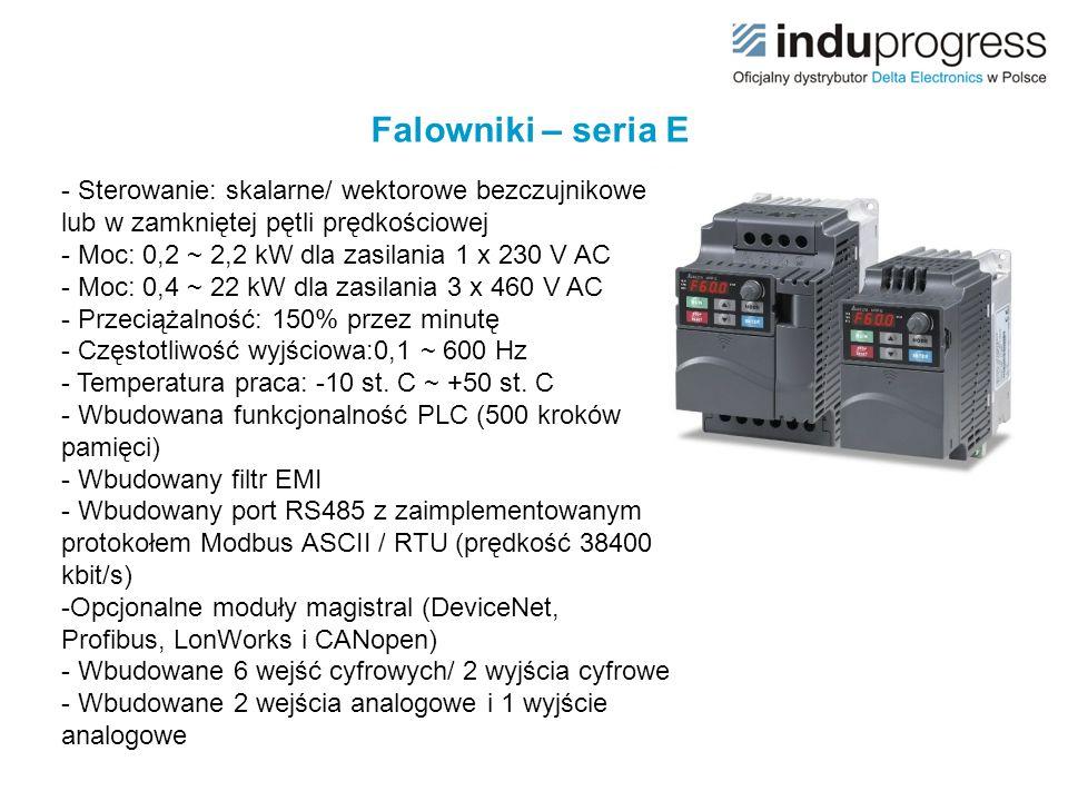 Falowniki – seria E - Sterowanie: skalarne/ wektorowe bezczujnikowe lub w zamkniętej pętli prędkościowej.