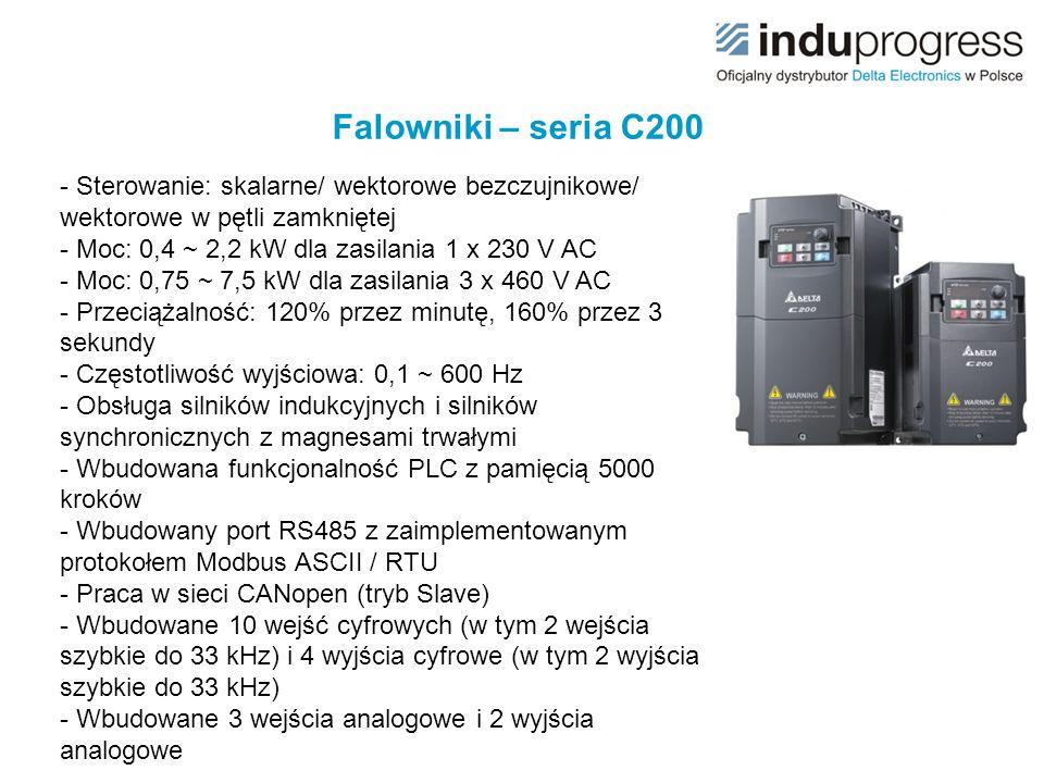 Falowniki – seria C200 - Sterowanie: skalarne/ wektorowe bezczujnikowe/ wektorowe w pętli zamkniętej.