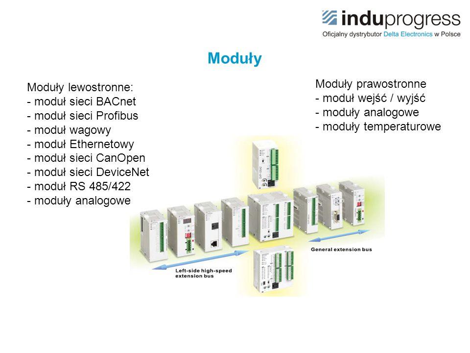 Moduły Moduły prawostronne - moduł wejść / wyjść - moduły analogowe - moduły temperaturowe.