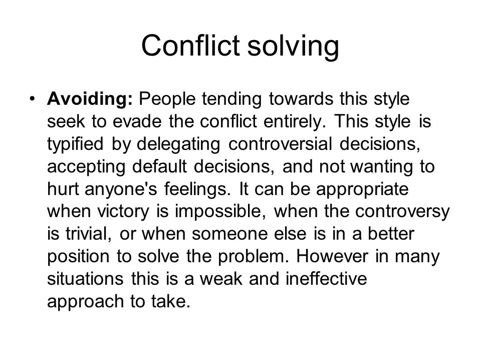 Conflict solving