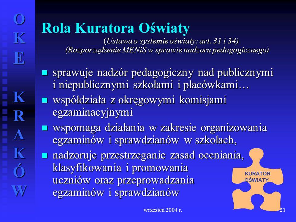 Rola Kuratora Oświaty (Ustawa o systemie oświaty: art. 31 i 34) (Rozporządzenie MENiS w sprawie nadzoru pedagogicznego)