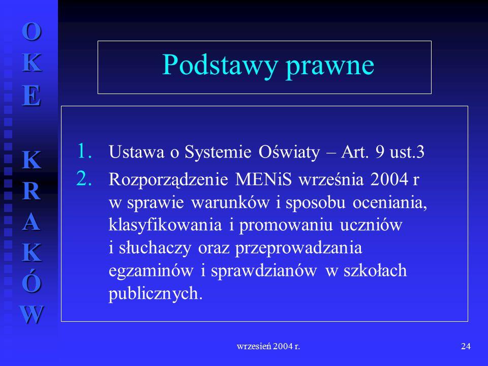 Podstawy prawne Ustawa o Systemie Oświaty – Art. 9 ust.3