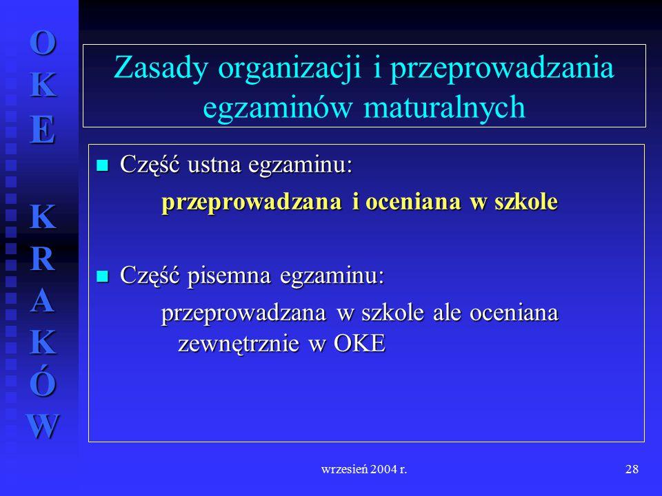 Zasady organizacji i przeprowadzania egzaminów maturalnych