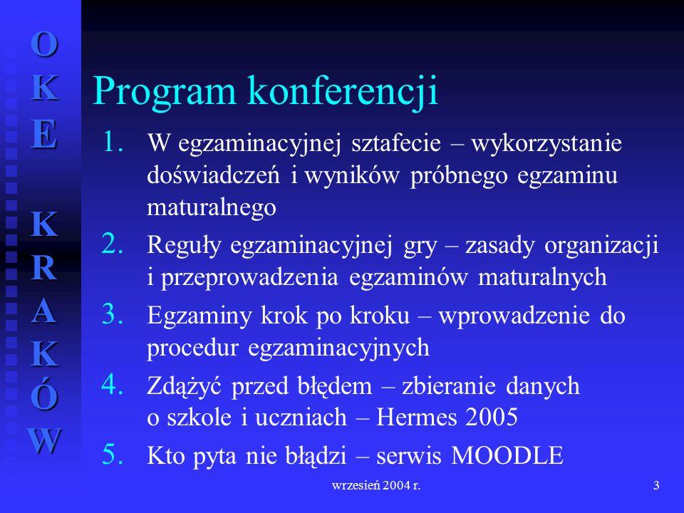 Program konferencji W egzaminacyjnej sztafecie – wykorzystanie doświadczeń i wyników próbnego egzaminu maturalnego.
