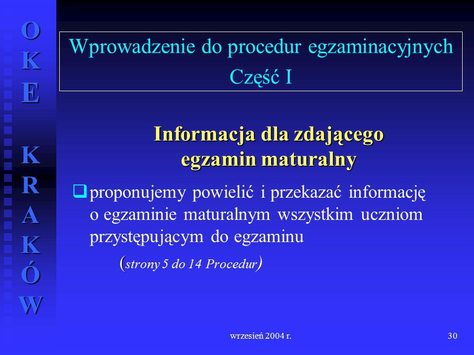 Wprowadzenie do procedur egzaminacyjnych Część I