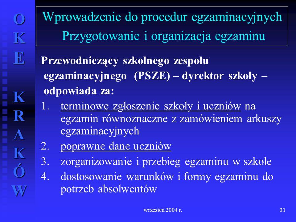 Wprowadzenie do procedur egzaminacyjnych Przygotowanie i organizacja egzaminu