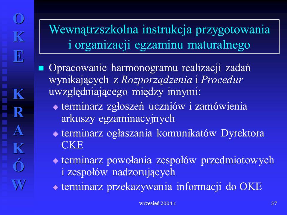Wewnątrzszkolna instrukcja przygotowania i organizacji egzaminu maturalnego