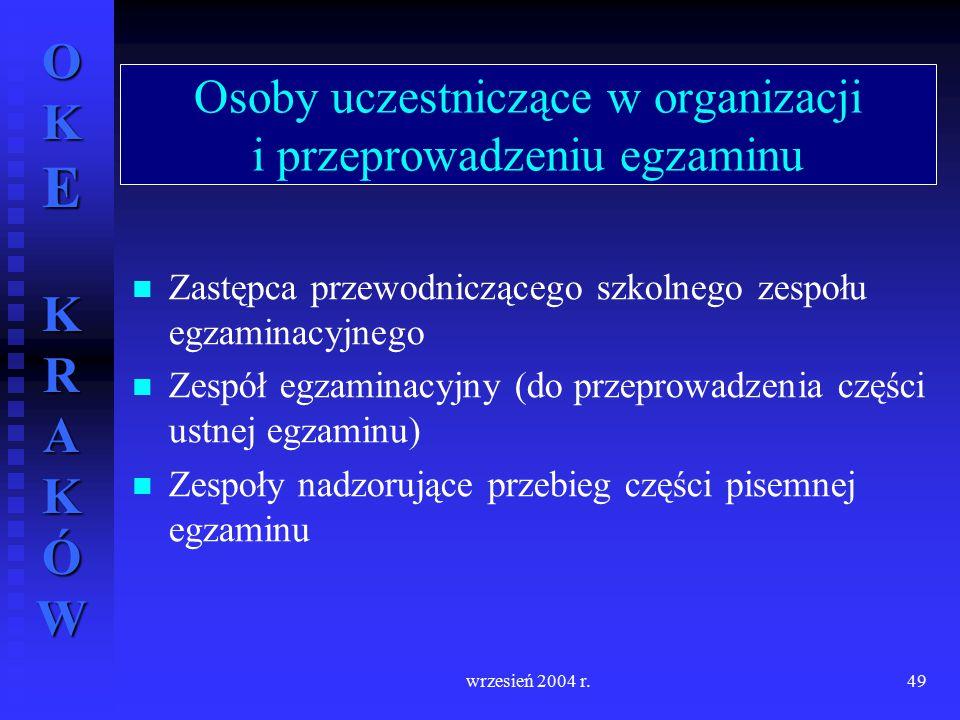 Osoby uczestniczące w organizacji i przeprowadzeniu egzaminu