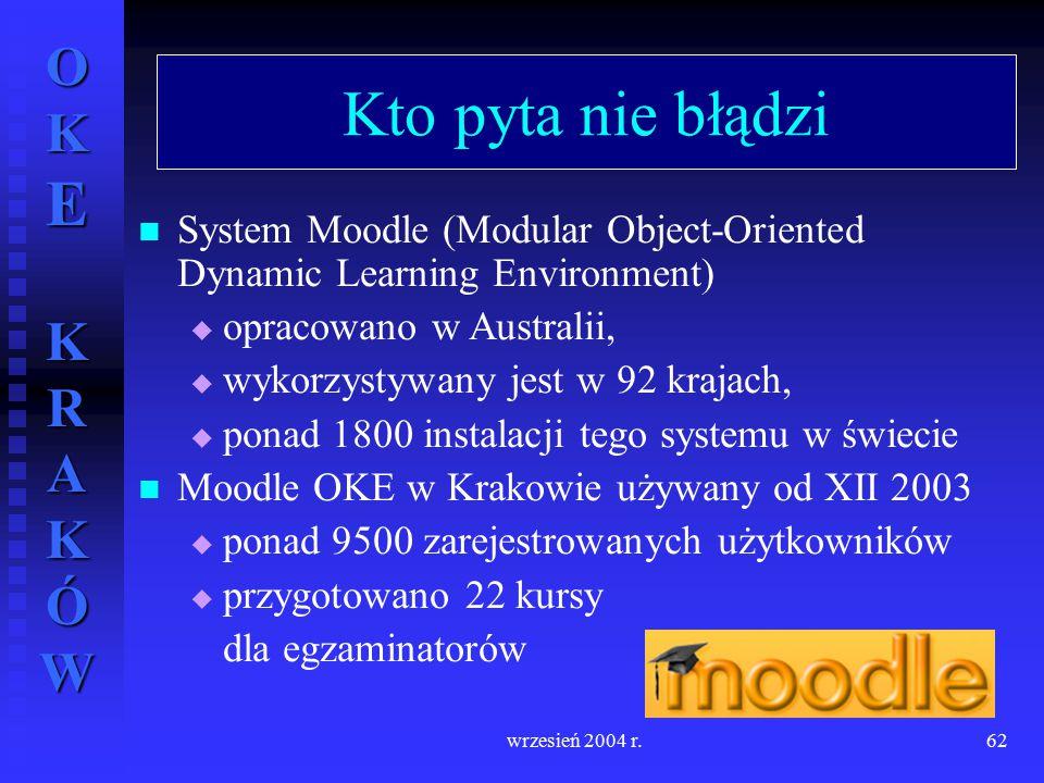 Kto pyta nie błądzi System Moodle (Modular Object-Oriented Dynamic Learning Environment) opracowano w Australii,
