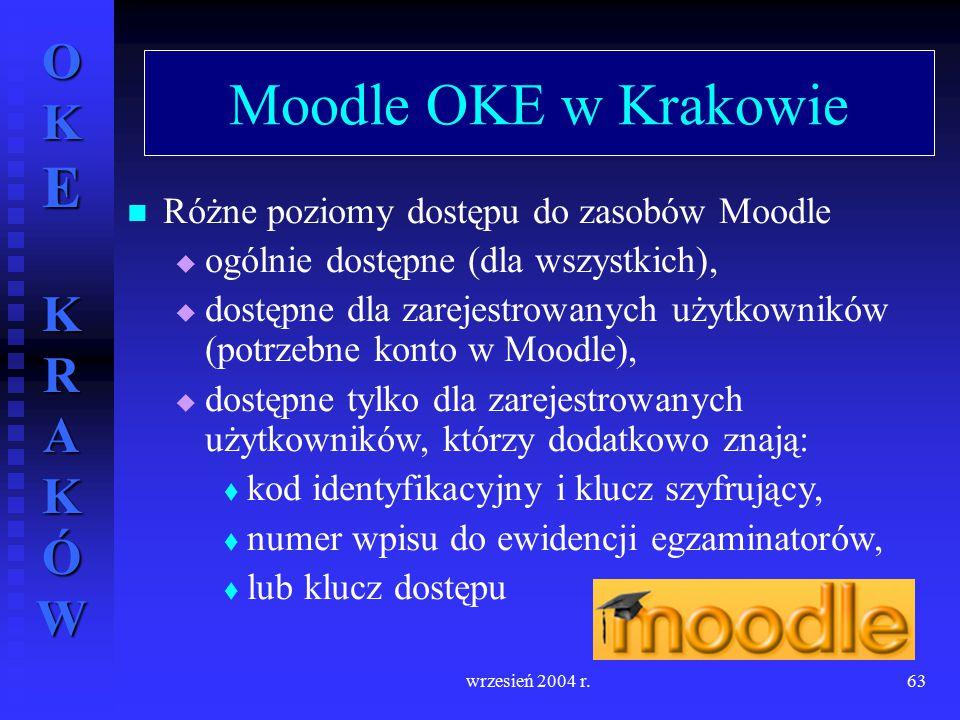 Moodle OKE w Krakowie Różne poziomy dostępu do zasobów Moodle