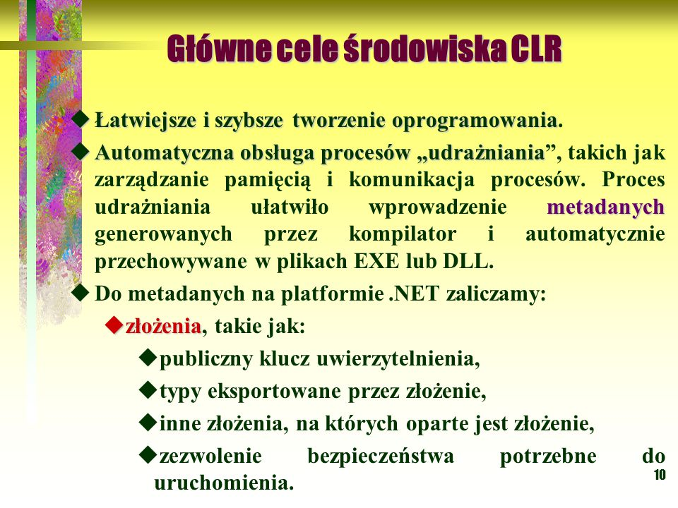 Główne cele środowiska CLR