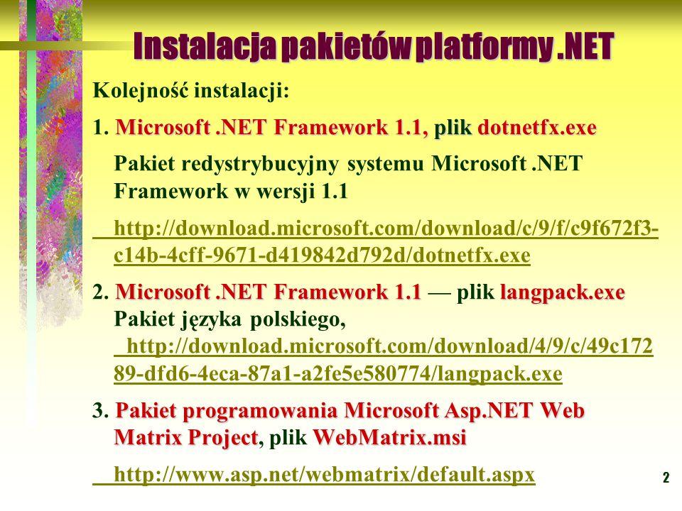 Instalacja pakietów platformy .NET