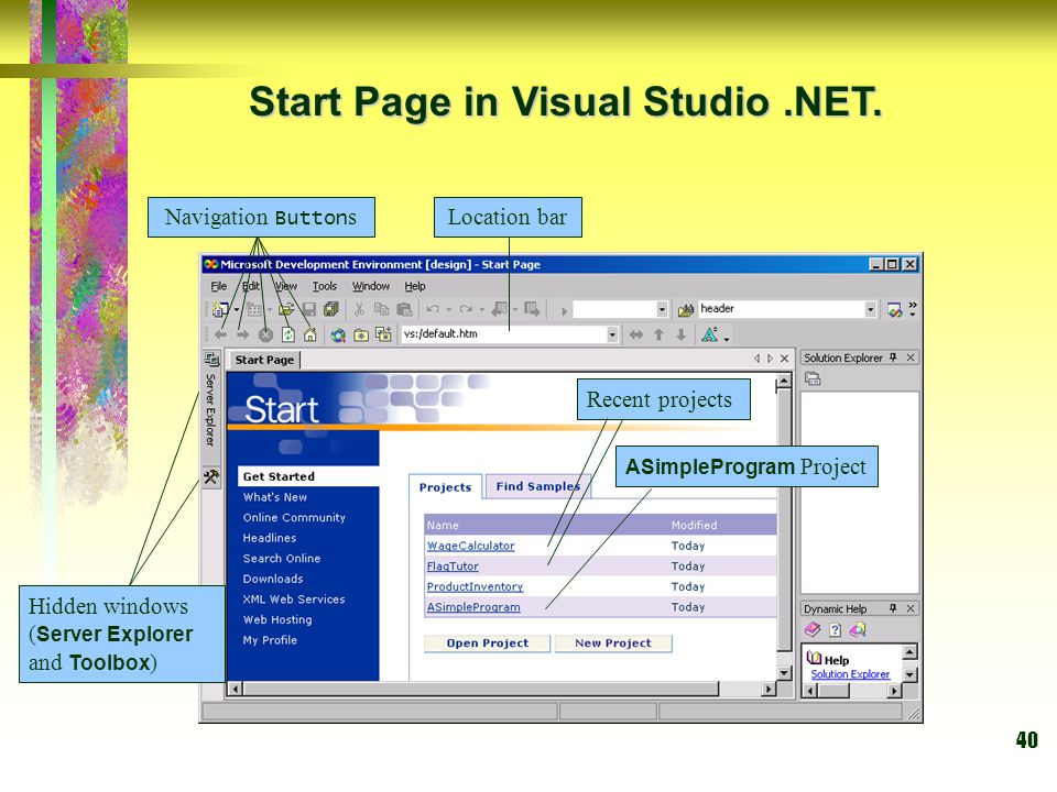 Start Page in Visual Studio .NET.