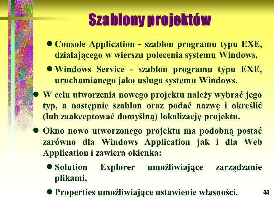 Szablony projektów Console Application - szablon programu typu EXE, działającego w wierszu polecenia systemu Windows,