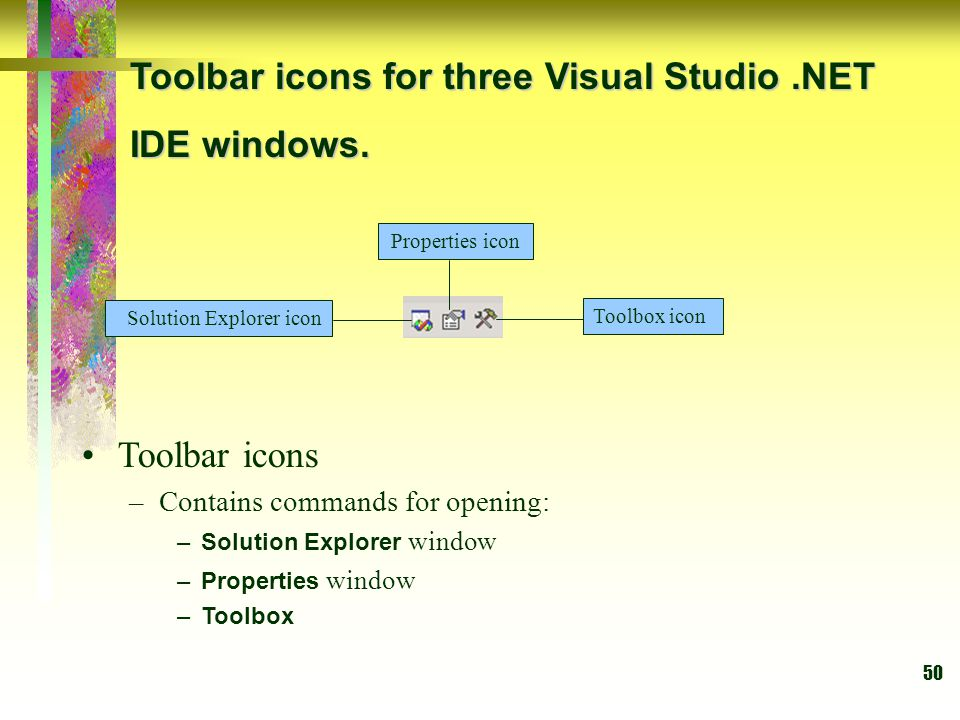Toolbar icons for three Visual Studio .NET IDE windows.