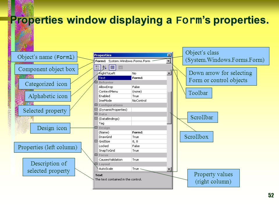 Properties window displaying a Form's properties.