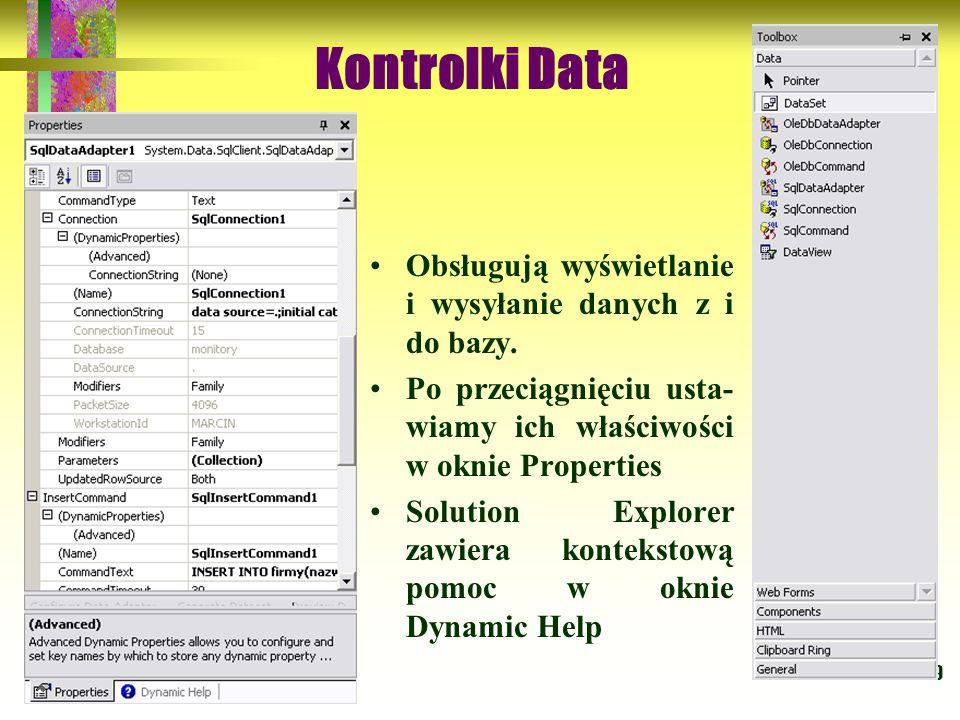 Kontrolki Data Obsługują wyświetlanie i wysyłanie danych z i do bazy.