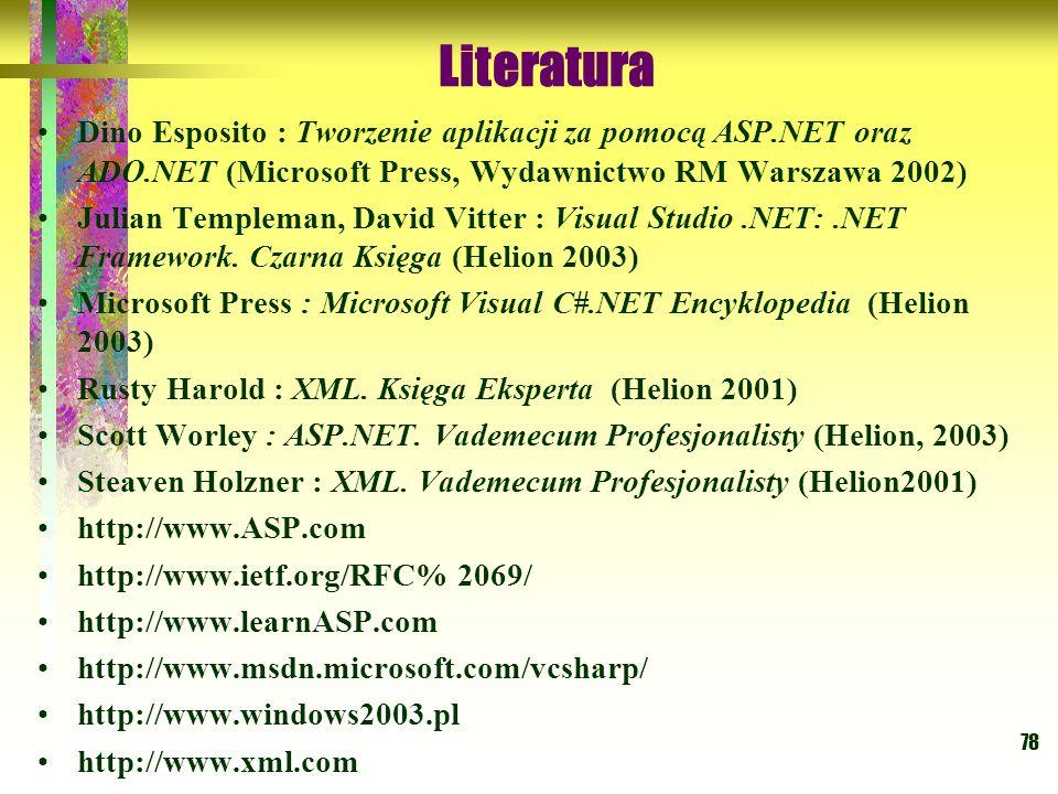 Literatura Dino Esposito : Tworzenie aplikacji za pomocą ASP.NET oraz ADO.NET (Microsoft Press, Wydawnictwo RM Warszawa 2002)