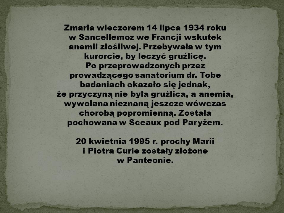 20 kwietnia 1995 r. prochy Marii i Piotra Curie zostały złożone