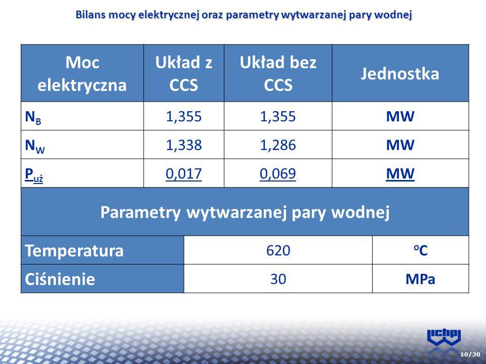 Bilans mocy elektrycznej oraz parametry wytwarzanej pary wodnej